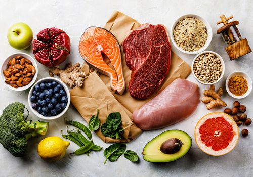 balanced diet organic healthy food clean eating selection including certain protein prevents cancer 931193062 799da546cdb9457e91a0e88fa8a31eac