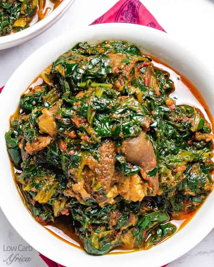 Nigerian beef stew with spinach