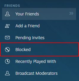 How to know if someone blocked you on steam