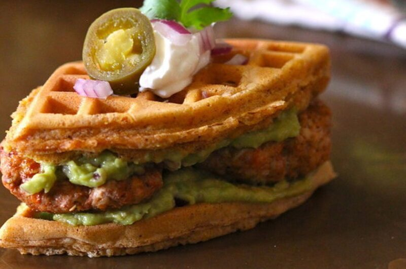 How to eat chicken and waffles sandwich